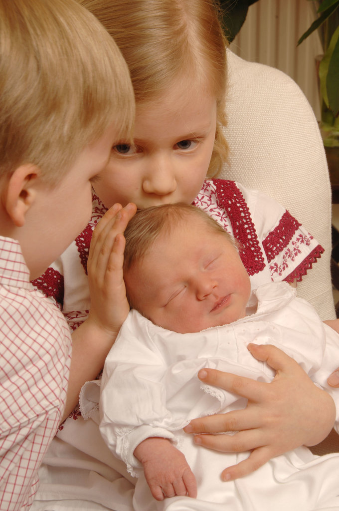 In 2008, newborn baby Princess Eleonore of Belgium was admired by siblings Princess Elisabeth and Prince Gabriel.