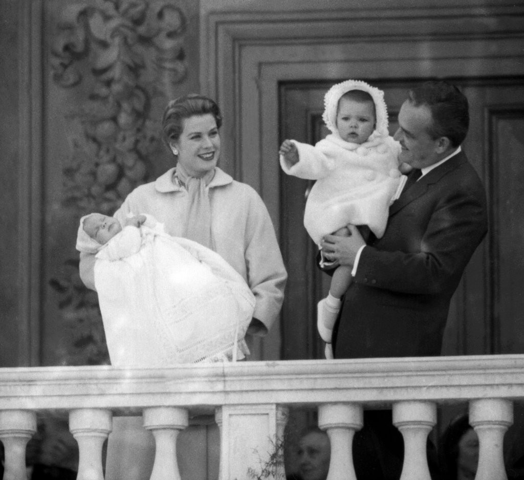 In 1958, Princess Grace of Monaco and Prince Rainier presented their newborn son Albert to the crowds — with his older sister, Caroline, along for the fun.