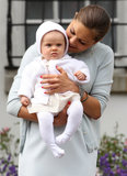 On her 35th birthday in 2012, Swedish Crown Princess Victoria held her little baby Princess Estelle.