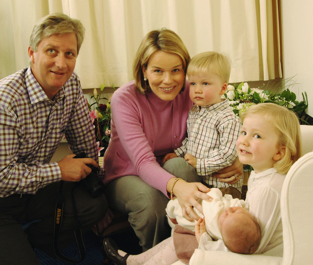Belgian royals Prince Philippe, Princess Mathilde, Princess Elisabeth, Prince Gabriel, and Princess Elisabeth posed for the official photo of newborn Prince Emmanuel Leopold Guillome in 2005.