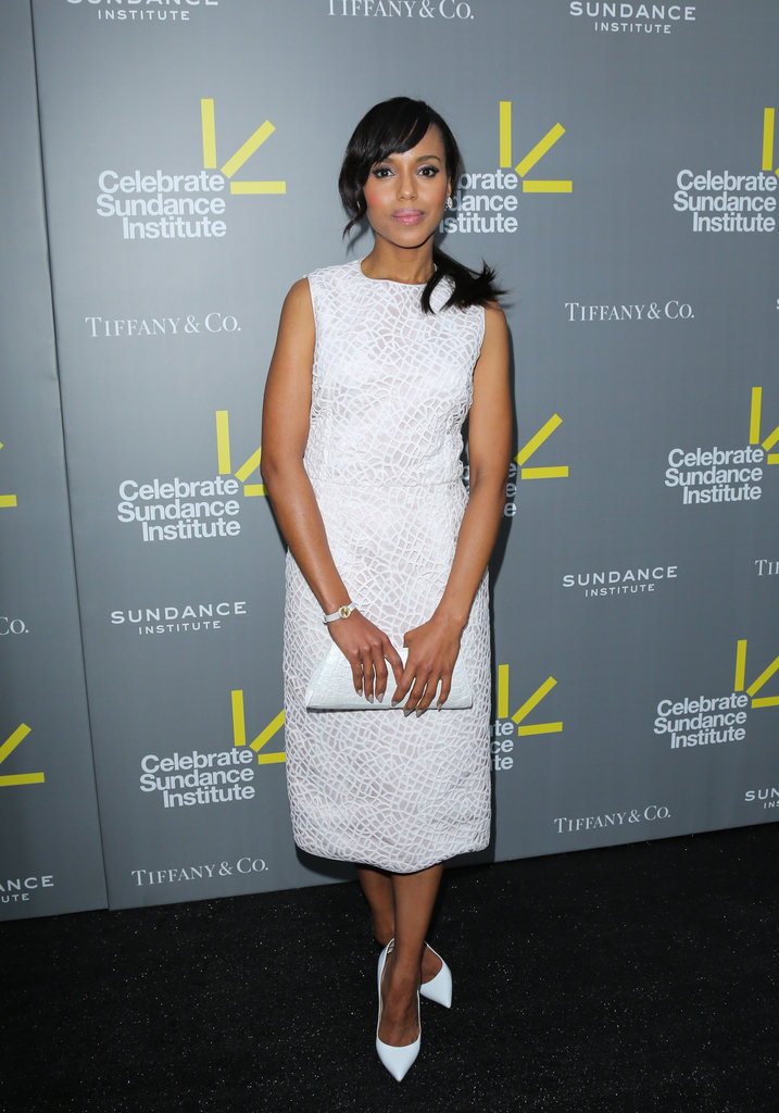 Kerry Washington not only donned white Christian Louboutin pumps, but she kept the crisp color coming in a Giambattista Valli dress, Nancy Gonzalez clutch, and a white watch in NYC.