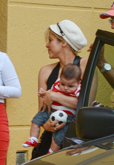 Shakira craddled her son, Milan, in Miami.