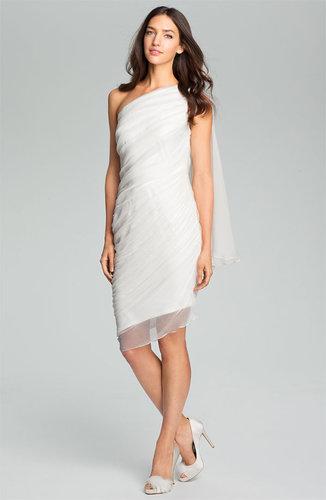 Tadashi Shoji One Shoulder Crinkle Chiffon Dress