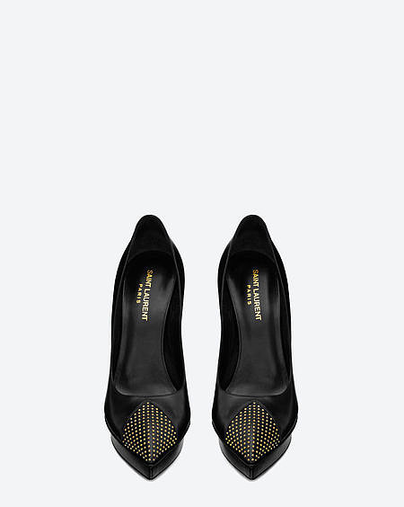 Janis studded cap-toe pump in calfskin leather ($795).