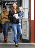 Jennifer Garner and Sam stopped for breakfast in Brentwood on Thursday.