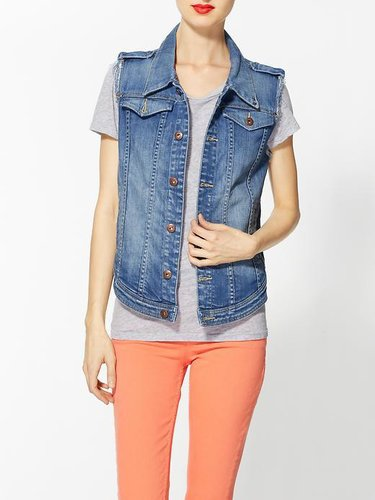 Blank Denim Cut Off Vest
