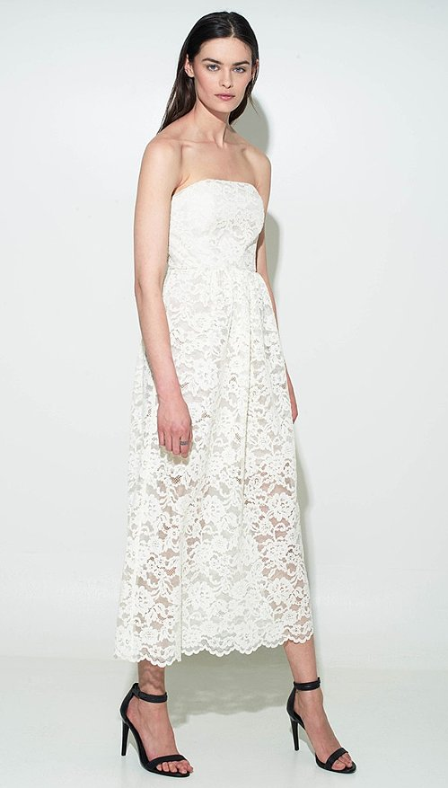 Tibi's strapless lace cocktail dress ($595) is undeniably romantic, but it also maintains sexiness thanks to the sheer skirt.