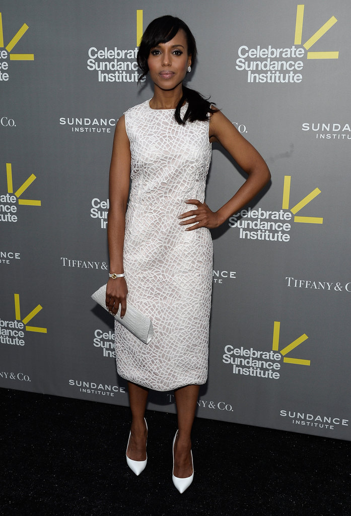 There's nothing more chic than a polished white dress for Summer, as evidenced by Kerry Washington in this Giambattista Valli sheath and coordinating Christian Louboutin pumps.