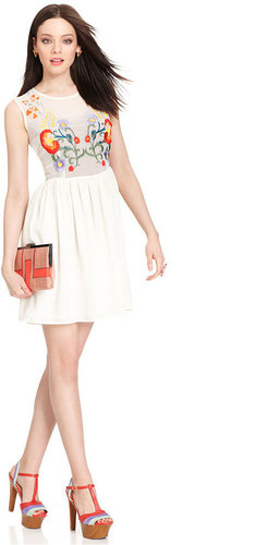 Bar III Dress, Sleeveless High-Neck Floral-Embroidered A-Line
