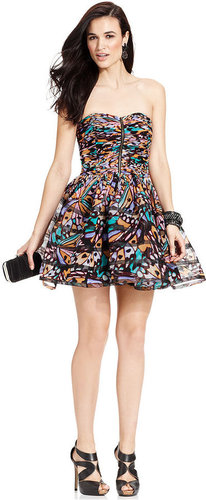 Betsey Johnson Dress, Strapless Printed Pleated