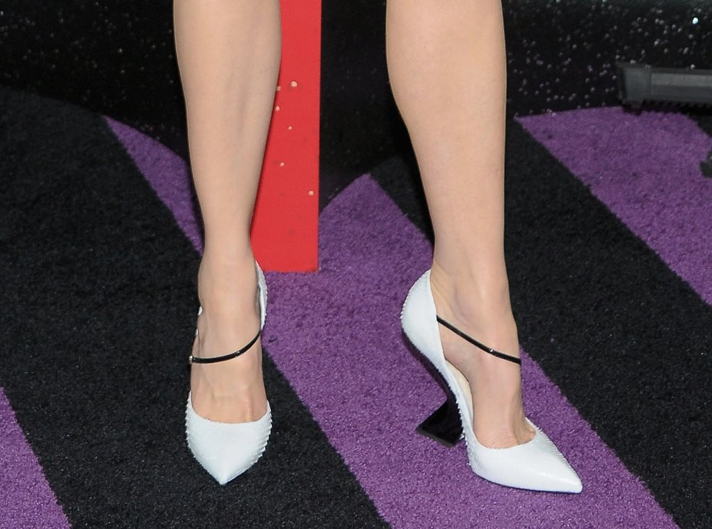 Check out that cool heel and textured pump.