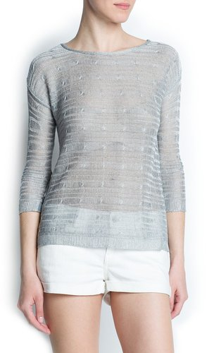 Cable knit metallic sweater