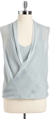 DKNY JEANS Sleeveless Draped Wrap Blouse