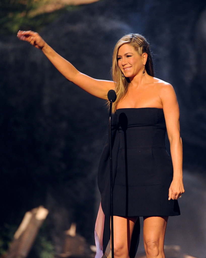 Jennifer Aniston hit the stage at the Guys Choice Awards.