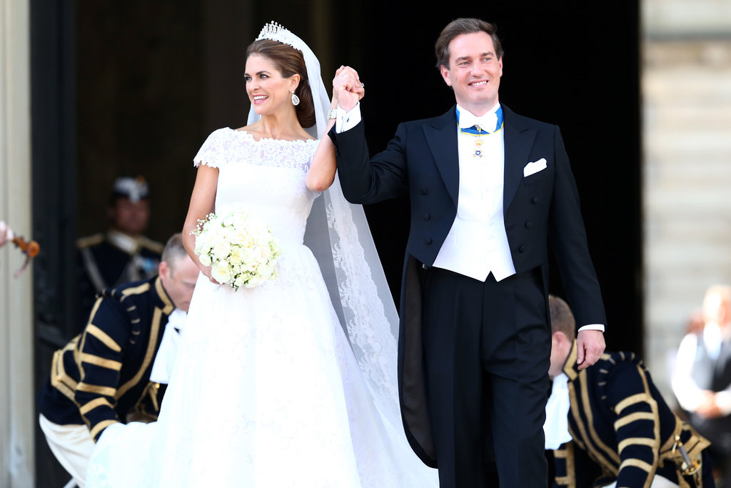 Newlyweds Princess Madeleine of Sweden and Christopher O'Neill smiled.