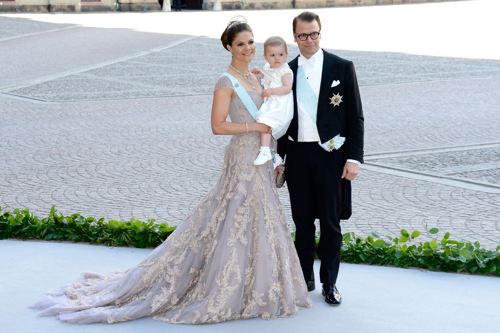 Crown Princess Victoria of Sweden and her husband, Prince Daniel of Sweden, brought their daughter, Princess Estelle, to the wedding of Princess Madeleine of Sweden and Christopher O'Neill.