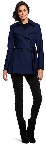 Via Spiga Women's Double-Breasted Wool Trench Coat With Pleated Back
