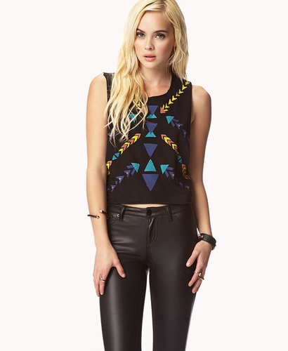 FOREVER 21 Tribal Print Muscle Tee