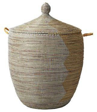 Senegalese Storage Basket - White/Natural, Large