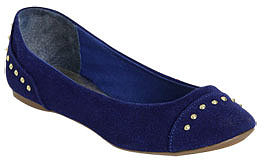 WetSeal Studded Cap Toe Flat Blue