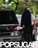 Ben Affleck gets his car jumped after a breakdown in LA.