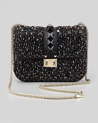 Valentino Glam Lock Small Crystal-Covered Crossbody Bag, Black