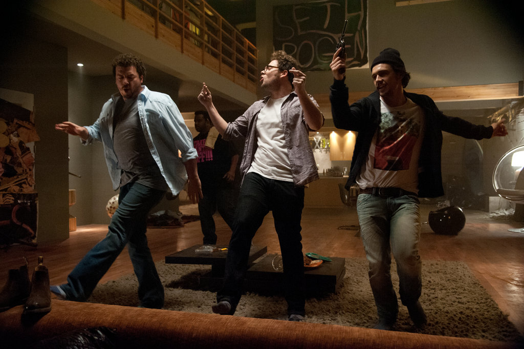 Danny McBride, Seth Rogen, and James Franco in This Is the End.