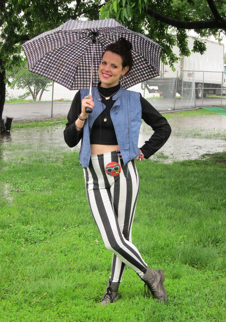 If there's a risk of your legs getting soaked, lightweight leggings are a comfier option than blue jeans, which can feel heavy and stiff when wet. Source: Leah Melby