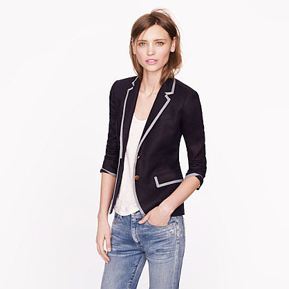 Collection schoolboy blazer in tipped linen