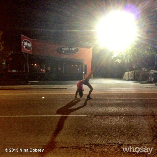Apparently night shoots make people a little delirious? Source: Nina Dobrev on WhoSay