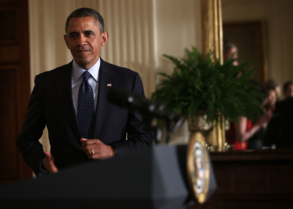 President Obama stepped up to the podium to speak at the White House.