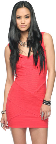 FOREVER 21 Textured Asymmetrical Bodycon Dress