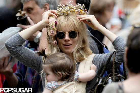 Sienna Miller went to a flea market with her daughter Marlowe in NYC on Saturday.