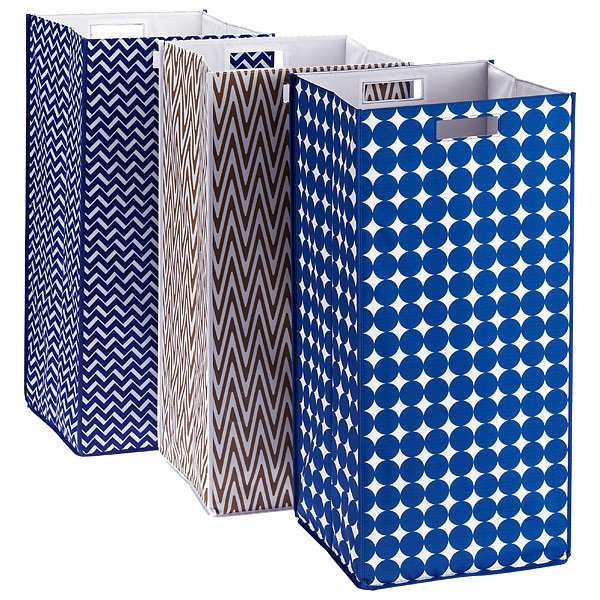 Ditch the mesh styles and pick up a grown-up hamper ($30) in a playful pattern.