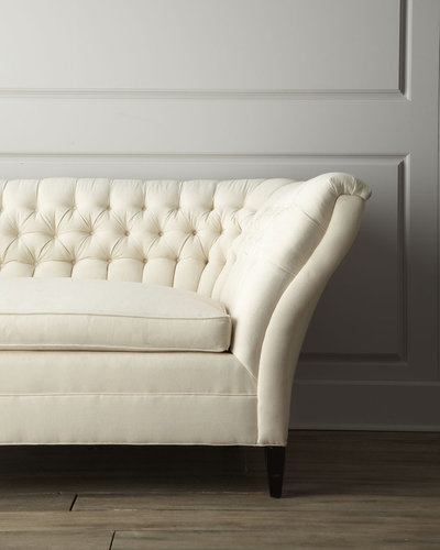 """Old Hickory Tannery """"Ellsworth"""" Neutral Tufted-Curve Sofa"""