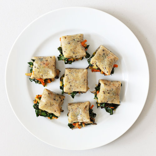 Mochi Squares Stuffed With Sesame Greens