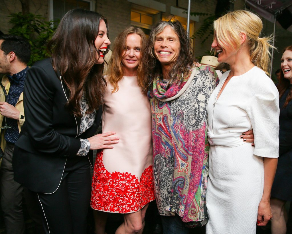 Cameron Diaz had a laugh with Liv Tyler, Steven Tyler, and Stella McCartney at the designer's Spring 2014 collection presentation.