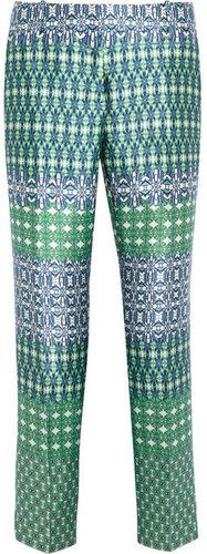 J.Crew Café printed wool and silk-blend Capri pants