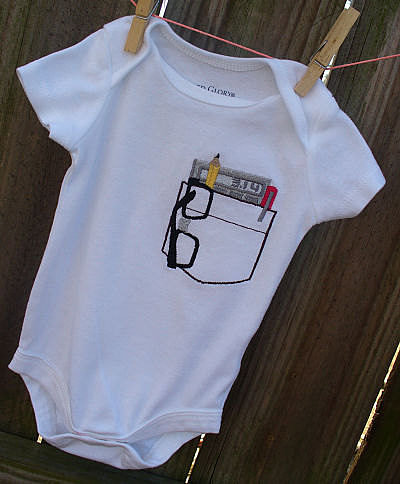 So Cute Sarah Nerd Pocket Protector Onesie