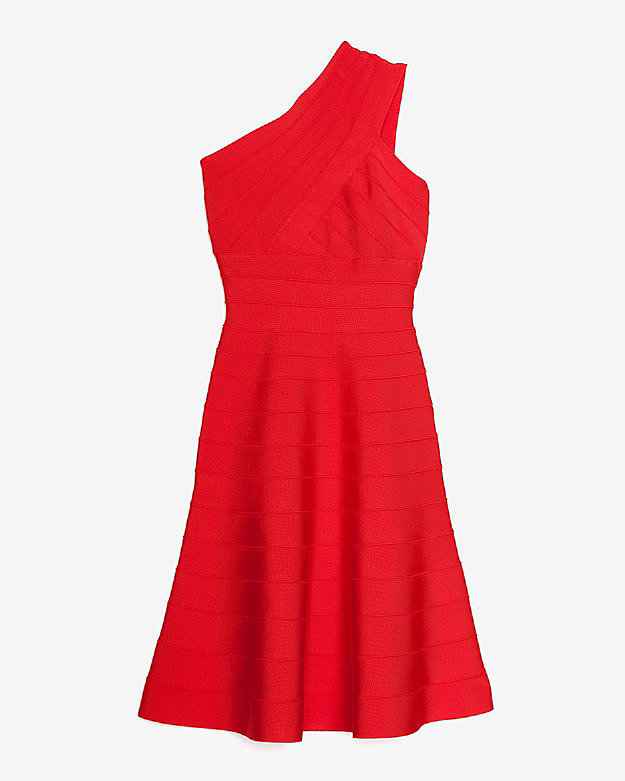 If Herve Leger's body-con bandage dress feels too tarty for a wedding, then get the same figure-flattering effect with the brand's one-shouldered A-line option ($1,250).