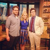 Funny guys Seth Rogen and Andy Samberg posed with Kelly Ripa on the Live With Kelly and Michael set. Source: Instagram user kellyandmichael