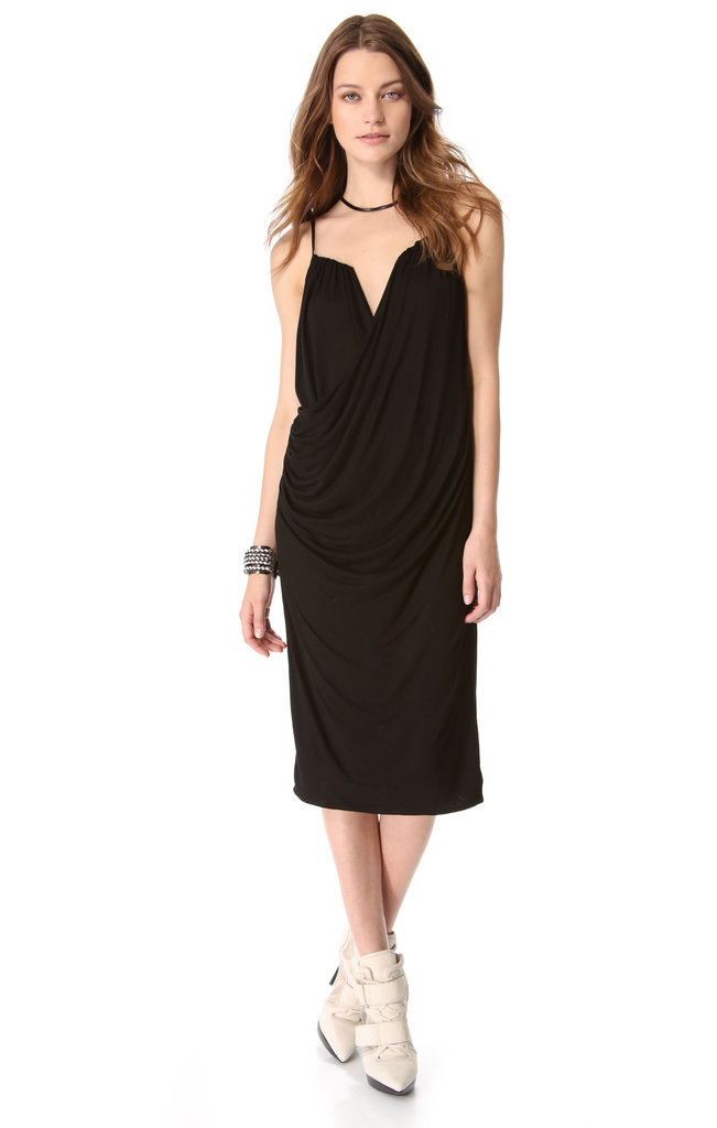 If formfitting styles aren't for you, then think about a perfectly draped option like this black DKNY number ($235).