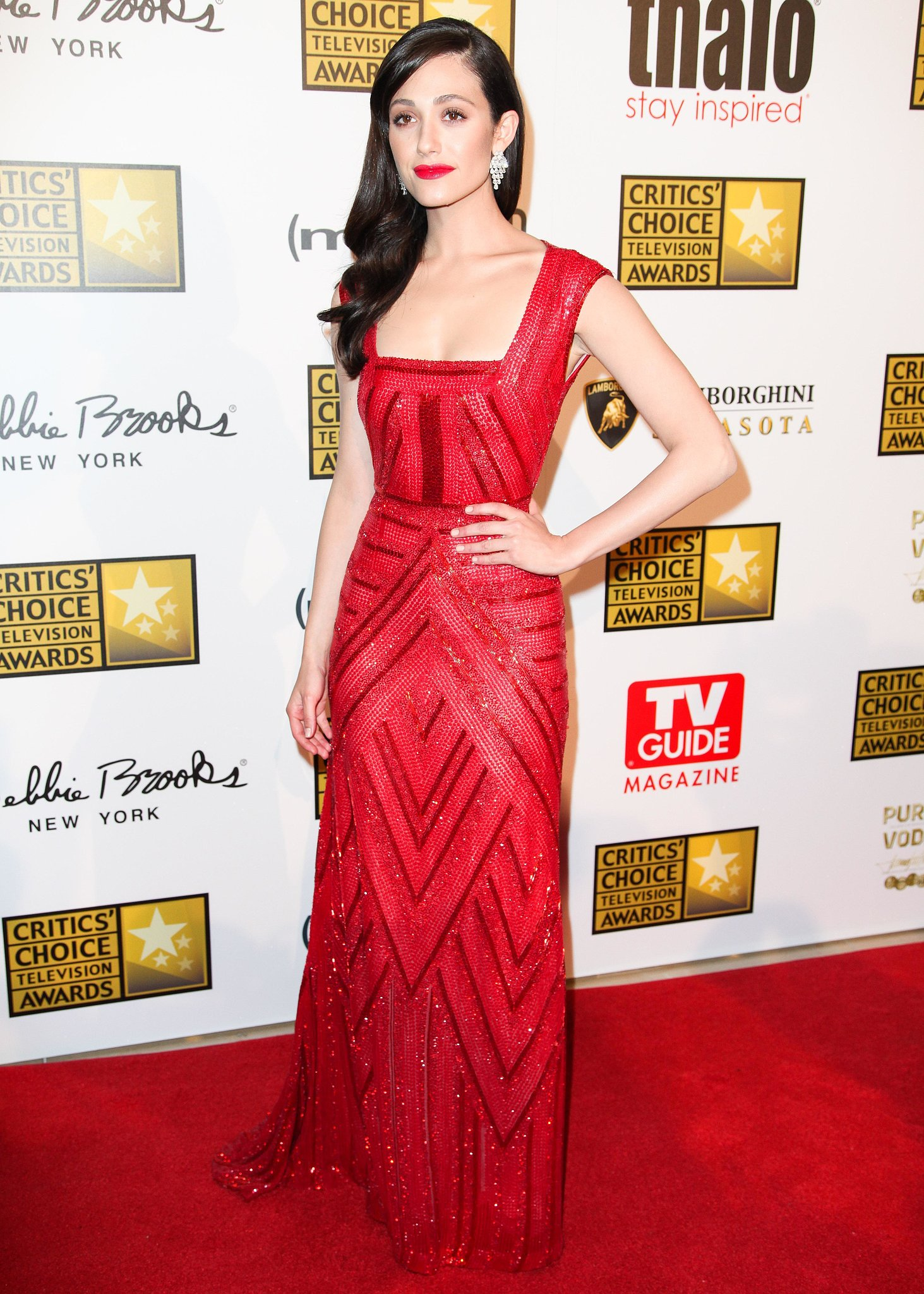 Emmy Rossum at the 2013 Critics' Choice Television Awards in Los Angeles.  Source: Aleks Kocev/BFAnyc.com