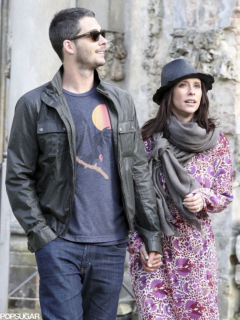 Jennifer Love Hewitt held hands with fiancé Brian Hallisay.