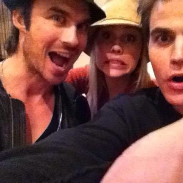 Ian Somerhalder celebrated Vampire Diaries costar Claire Holt's birthday alongside Paul Wesley.  Source: Instagram user somerhalder_ian