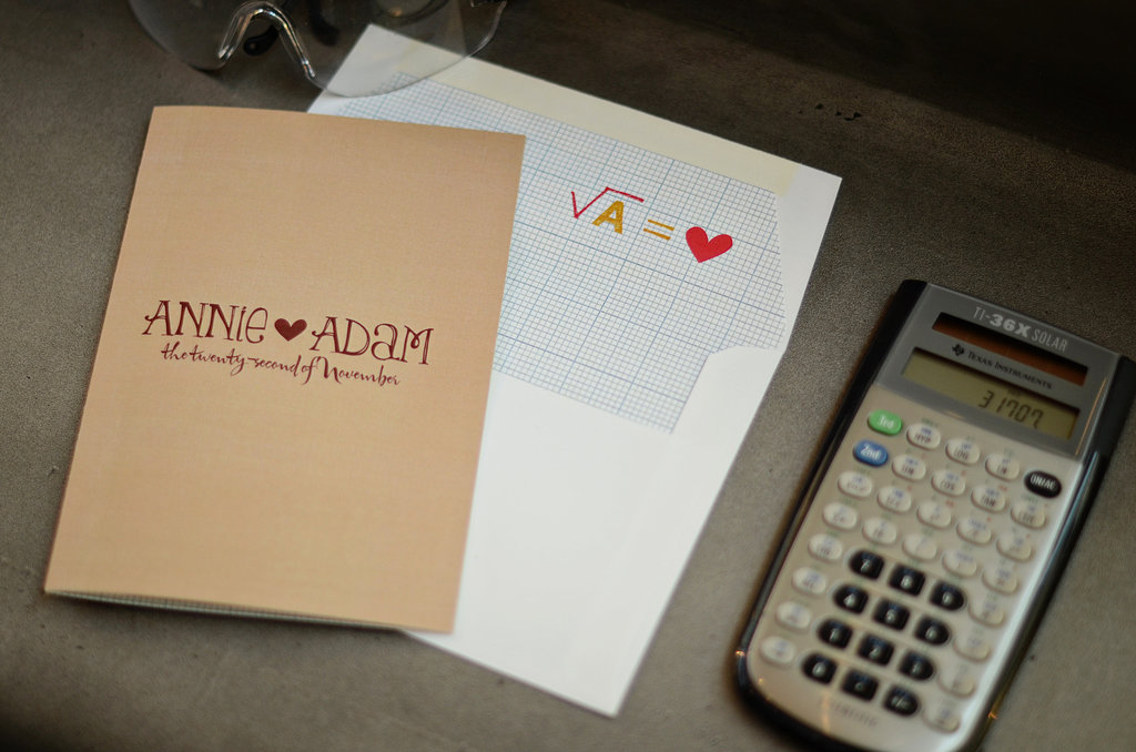 The square root of Annie and Adam? Love, of course. We're smitten with the envelopes lined in graph paper.  Source: Mariana Mosli, Kismisink Photography
