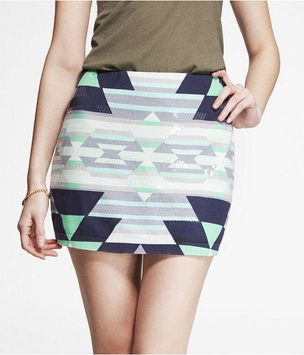 Printed Sequin Embellished Mini Skirt