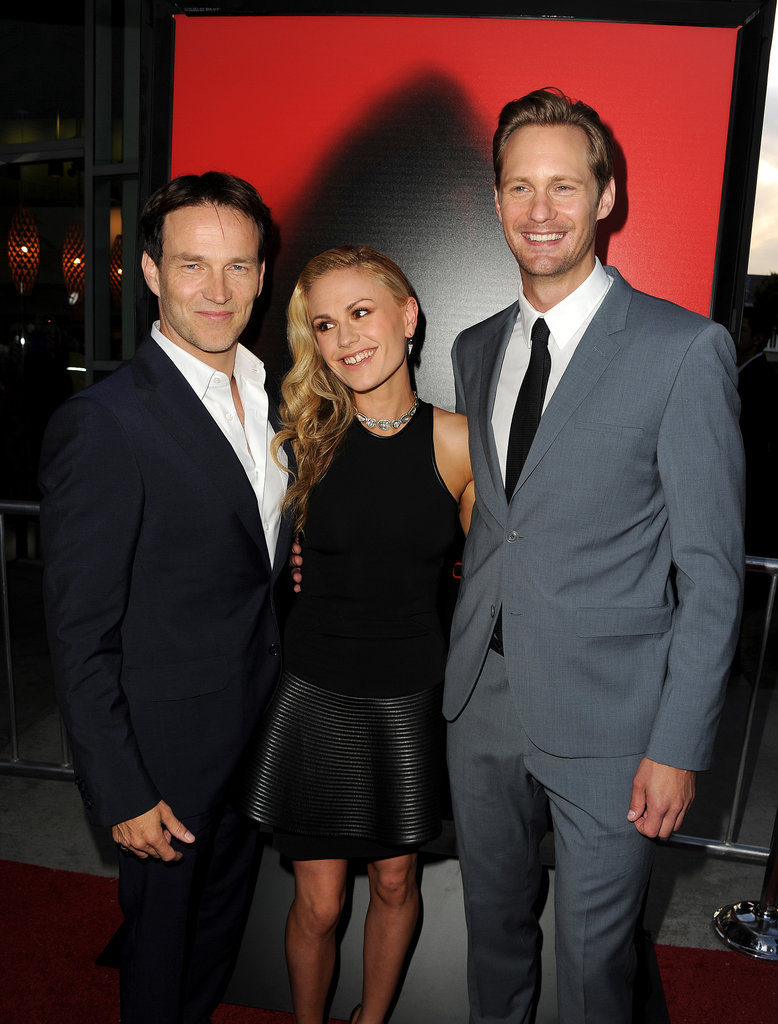 Anna Paquin, Stephen Moyer, and Alexander Skarsgard posed on the red carpet together.