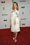 We love Angela Lindvall's floaty, floral Max Mara dress and Summer-perfect sandals.
