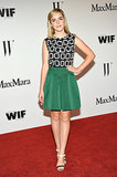 Kiernan Shipka was party perfect in a Max Mara black-and-white silk sleeveless top and green silk skirt.
